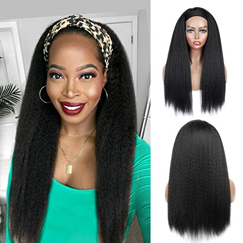 YEBO Headband Wig 24 Inch Water Wave Wig for Black Women, LongCurly Wave Wig with Black Headband,Natural Hairline Glueless Wig Headbands Natural Color