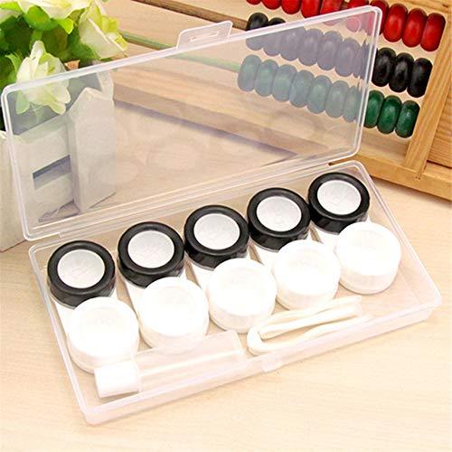 LSSJJ Tragbare Kontaktlinsenbox-Sets 5er-Pack Kontaktlinsenbehälter Behälterhalter mit haltbarer Einweichflasche und Linsenentferner, Pinzette Geeignet für Reisen, Aktivitäten im Freien