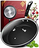 Frying Pan with Lid - 12 Inch Frying Pans Nonstick Skillet Pan Nonstick Frying Pan Skillets Nonstick with Lids Non Stick Pan Cooking Pan Fry Pan Nonstick Pan with Lid Skillet with Lid Pan Black