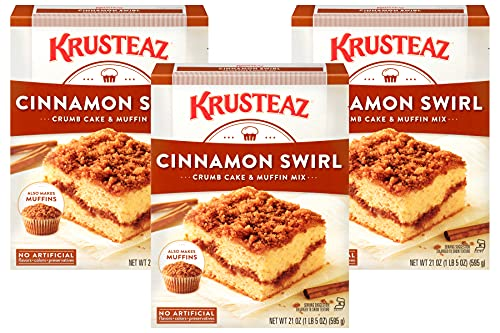 Krusteaz Cinnamon Swirl Crumb Cake & Muffin Mix, Made with No Artificial Flavors, Colors or Preservatives, Also Makes Muffins, 21-Ounce Box (Pack of 3)