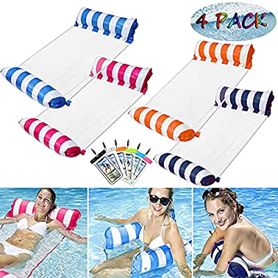 Amazon - 15% Off on 4 Pack Inflatable Swimming Pool Float for Adult , 4-in-1 Multi-Purpose Pool Hammock