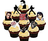 Made4You Elvis Presley Fan Party Pack, Decoraciones comestibles para Tartas, obleas de pie para Cupcakes, Impreso Comestible, Pack of 72