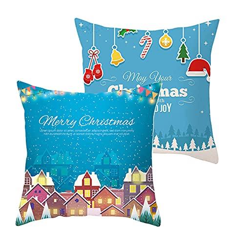 2 pcs Fundas de Cojín Decorativos Navidad Cuadradas Terciopelo Suave Funda de Almohada Cubierta para Cojines Sofá Sala de Estar Dormitorio Habitación Decor Throw Pillow Case J5363 Pillowcase_40x40cm