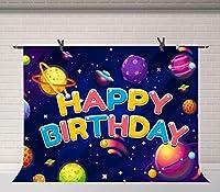 X宇宙お誕生日おめでとう写真背景漫画宇宙ギャラクシー惑星写真背景スペースパーティーケーキテーブルの装飾写真ブース小道具7x5ftBJZYFU112
