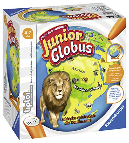 """Ravensburger tiptoi 00785 - \""""Mein interaktiver Junior Globus\"""" / Spiel von Ravensburger ab 4 Jahren / Entdecke spielerisch die Kontinente!"""