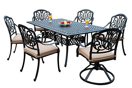 GrandPatioFurniture.com CBM Patio Elisabeth Collection Cast Aluminum 7 Piece Dining Set with A Rectangle Table 2 Swivel Rockers 4 Arm-Chairs SH226-2S4A cbm1290
