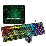 Vfhdd T6RGB Juego de teclado y mouse para juegos con cable luminoso y kit USB de alfombrilla de mouse grande