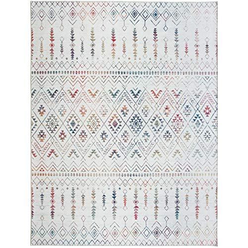 ReaLife Rugs Machine Washable Rug - Stain Resistant, Non-Shed - Eco-Friendly, Non-Slip, Family & Pet Friendly - Made from Premium Recycled Fibers - Moroccan - Ivory-Multi, 5' x 7'