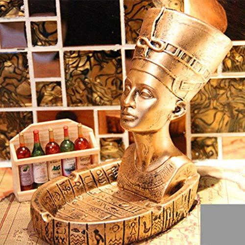 Ga-yinuo Cenicero Egipcio Faraón Cenicero de Oficina de Moda Antiguo Retro Resina de Cenicero artesanía decoración del hogar,Amarillo