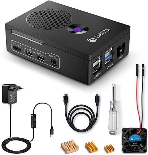 LABISTS Raspberry Pi 4 Custodia, Alimentatore 5.1V3A, Ventola, HDMI, 3 Dissipatori di Calore,