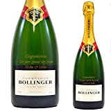 Personalised Bollinger Champagne Bottle Engraved Gift/Birthday Wedding Anniversary Retirement/Gold/75 Centilitre