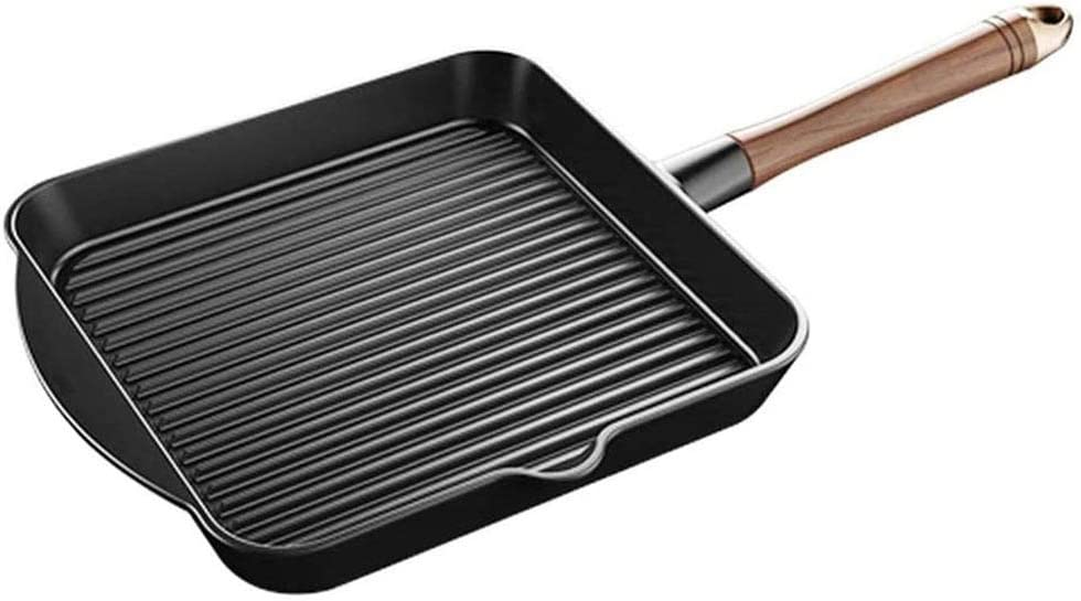WPYYI Ranking TOP15 Cast Iron Grill Pan Nonstick Import Wood Walnut with Han Fry