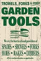 簡素な雑貨屋 Garden Tools メタルプレート アンティーク な ブリキ の 看板、レトロなヴィンテージ 金属ポスター 、40x30cm