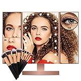 Espejo de Maquillaje, Espejo Maquillaje con Luz Sets de Brochas Maquillaje 1X/2X/3X/10X Aumento 21 LED en Iluminacíon Espejo de Mesa Tríptico Rotación de 180° Cosmético Pantalla Táctil Espejo