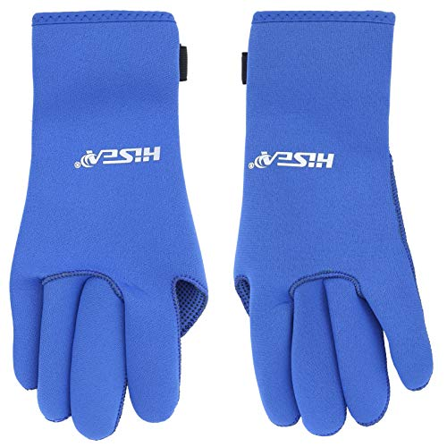 Hisea 3MM Diving Glove Antideslizante Handguard Snorkeling Anti-Scratch Sport Equipment (Azul XL)