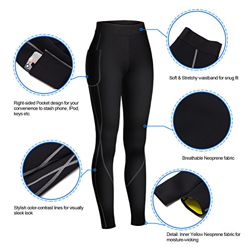 Gotoly Women Sauna Weight Loss Slimming Neoprene Pants with Side Pocket Hot Thermo Sweat Leggings Black