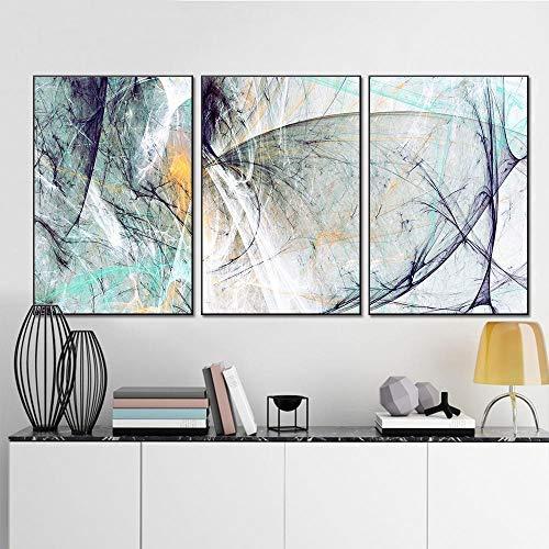 Cuadro En Lienzo Nordic Moderno Minimalista Abstracto Geométrico Línea Color Bloque Pintura Al Óleo Material De Pintura Decorativa Salón Tríptico Imagen Hd Sin Marco-50X70