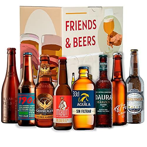 Pack de Cervezas premium :Estrella 1906, Madrí, Aguila, Alhambra Roja, Santa Monica, Daura, 18/70, Grimbergen I Ideas para regalar I Cervezas para degustación.