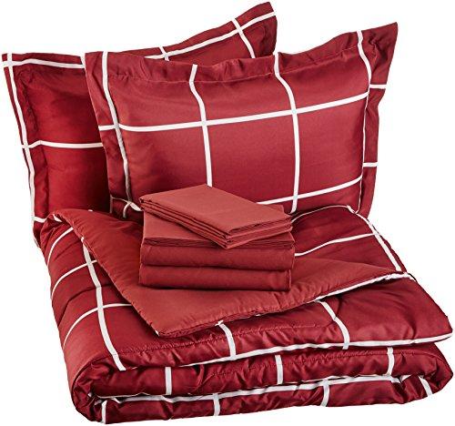 burgundy bed set full - 6