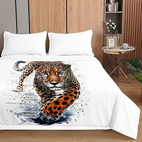 3D Leopardo Colcha de Verano, Chickwin Impresión Colcha Bouti Cubrecama Multiusos Manta Suave Edredón Ligero para Cama Sofá (Animal Blanco,150x200cm)