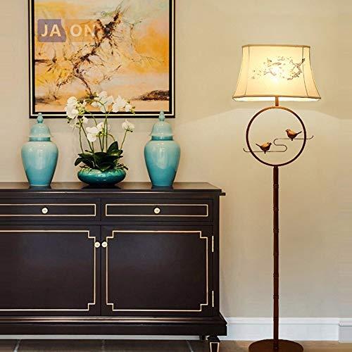 HYY-YY Piso Piso de luz LED E27 Chino Hierro Bird Tela de la lámpara LED LED LED Lámpara de pie de luz for Foyer Comedor (Body Color : White Light, Lampshade Color : Table Lamp)