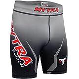 Pantalones Cortos Vale Tudo de compresión térmica MMA, con Capa Base, para Crossfit y para Correr, Negro y Gris, Mediano, de la Marca Mytra Fusion