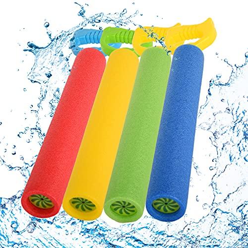 Herefun Wasserspritzpistolen Set, 4 Stück Wasserspritzpistole Spritzpistole Spielszeug Schaum Wasserpistole, Wasserpistole Bunte Schaumstoff für Kinder im Sommer