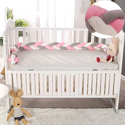 VIVILINEN 3M Bettumrandung Baby Nestchen Geflochten Bettschlange Babybett Stoßstange Kantenschutz Kopfschutz Dekoration für Krippe Kinderbett (Grau&Rosa)