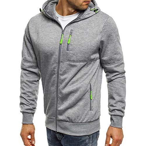 Loalirando Herren Sweatjacke Hoodie Kapuzenjacke mit Reißverschluss Oversized Sweatshirt Kapuzenpullover Sportjacke Outdoorjacke (Hellgrau, L)