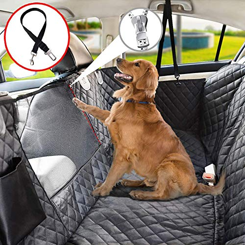 SPLLEADER Dog Car Seat Extender,100% Waterproof Dog Car Seat Covers with Mesh Window, Scratch Prevent Anti Slip Dog Car Hammock,Dog Backseat Cover for Cars