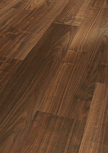 Parador Klick Laminat Bodenbelag Basic 200 Walnuss Landhausdiele Holzstruktur 2,991m² hochwertige Holzoptik dunkel braun, 7 mm, einfache Verlegung