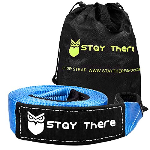 Stay There 3'' x 30 ft Tow Strap, Heavy Duty with 30,000 lb Capacity-Emergency Towing Rope for Recovery Vechiles-Storage Bag (Blue)