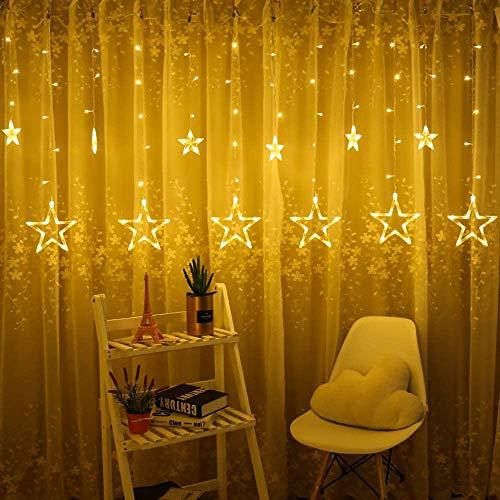 Cortina de Luces LED,LED luces de hadas,LED cortina cadena luces,12 Estrellas 138 LEDs Luces de Cadena de Estrellas con 8 Modos,Luces de Navidad para Ventana Jardín, Fiesta,Bodas,Navidad Decoracion