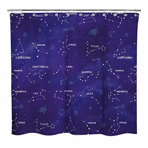 Sunlit Duschvorhang, Sternzeichen-Sternzeichen mit Wolke, Badezimmerdekoration, Astronomie-Stoff, Duschvorhänge, Mitternachtsblau