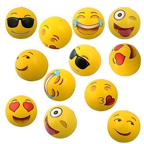 Emoji Universe: 12' Emoji Inflatable Beach Balls, 12-Pack