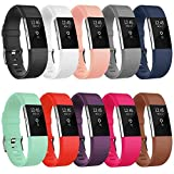 AK Bands Compatible with Fitbit Charge 2 Bands (10 Pack) Large Small Men Women Rose Gold 12 Colors (Without Tracker) (10PCs-C, Small)