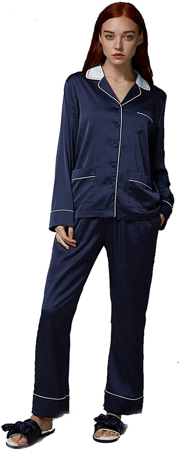 Pure color Loose Women's Pajama Set,Long Sleeve Navy bluee Sleepwear Long Button Down Loungewear With Pants