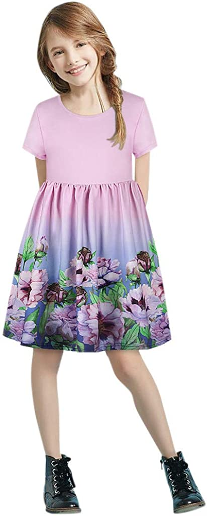 Child Girls Casual Maxi Dress for 7-12 Years Kids Short Sleeve Floral Print Patchwork Holiday Dress