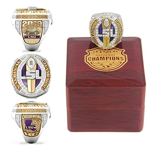 N/H 2019 LSU National Championship Replica Ring with Box Size 11 Christmas Ornament Gifts for Men Kids Women Youth