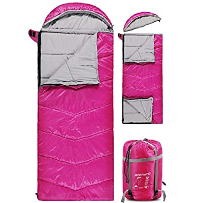 REDCAMP Kids Sleeping Bag for Camping with Detachable Hood, 32 Degree 3 Season Warm or Cold Weather Fit Boys, Girls & Teens (Rose Red with 3.7lbs Filling)