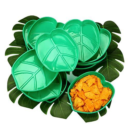 Stile Hawaiano, Vassoio di Snack a Foglia di Palma Riutilizzabile per Cibo con Foglie di Piante Verdi Artificiali Tropicali, Chip di Biscotti, Salsa, per Decorazioni, 12 Set, 10 x 8 Pollici