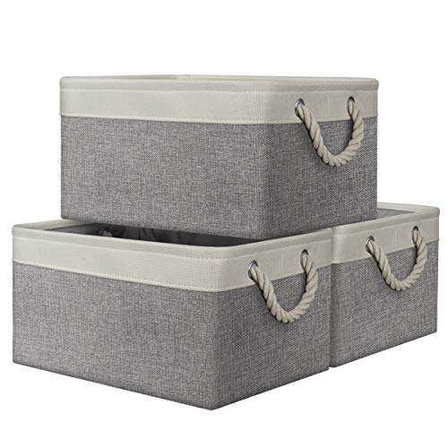 AivaToba Large Storage Box, 3 Pcs Fabric Storage Basket with Handles, Waterproof Foldable, Storage Baskets Home Organizer for Toys, Clothes, Office Products and Other Sundries