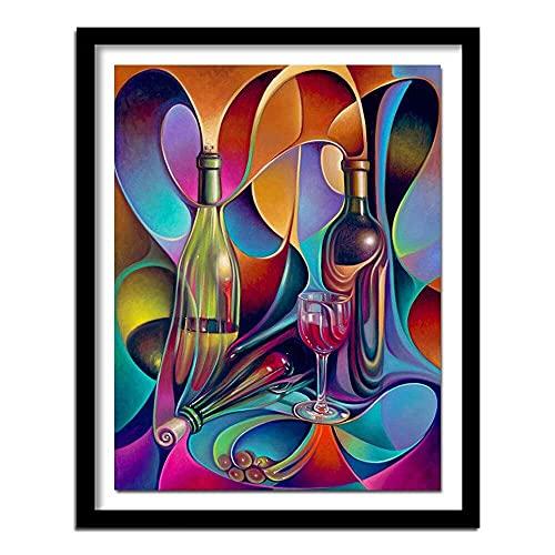 WFBZ DIY Kits de Punto de Cruz Estampado para Principiantes 11ct Botella de Vino Abstracta Bordado de Punto de Aguja Printed Kit de Punto de Cruz para decoración del hogar 16x20...