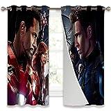 Cortinas para sala de estar Equipo Capitan America vs Equipo Iron Man Privacidad Ventana Set W42' x L63'