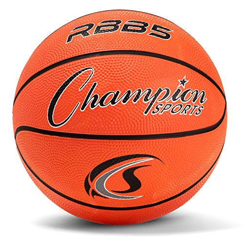 Champion Sports Rubber Mini Basketball, Heavy Duty - Pro-Style Basketballs, Various Colors and Sizes - Premium Basketball Equipment, Indoor Outdoor - Physical Education Supplies (Size 3, Orange)