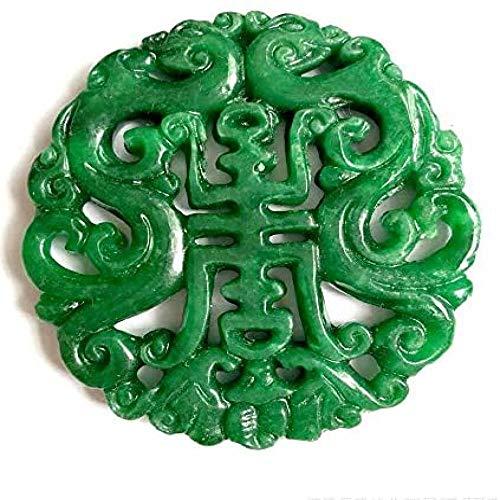RTRY Natürliche Halskette 49 * 47mm Smaragd Ausschnitt Anhänger trocken grün Eisen Drachenjet SsangYong Geburtstag Smaragd Jade Marke Pullover Kette Schmuck Geschenk