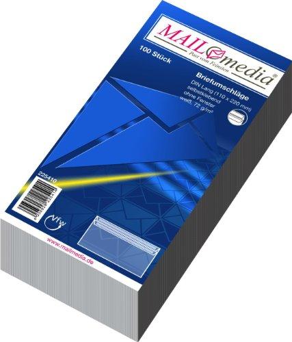 MAILMEDIA 30002388 Briefumschläge DIN lang (220x110 mm), ohne Fenster, selbstklebend, 72 g/qm, 100 Stück