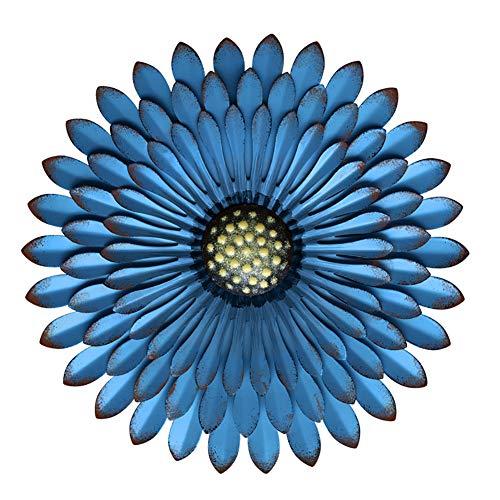 WLHER Décorations d'art Mural Fleur en Métal, Oeuvre Bohème De Décoration De Bureau/Maison, Cadeaux Faits À La Main pour La Fête des Mères À L'intérieur Ou À L'extérieur,Bleu