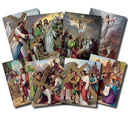 The Stations of the Cross Illustrated Cardstock Poster Set, 14 Pieces, 10 Inch