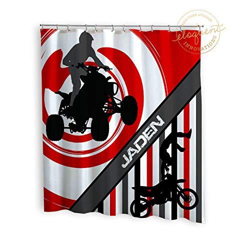 Mike21Browne Dirt Bike Decor Duschvorhang mit Namen Red ATV Quad 4Wheeler Sport Geschenke für Kinder Motocross Geburtstag Custom Fabric 272 personalisiert